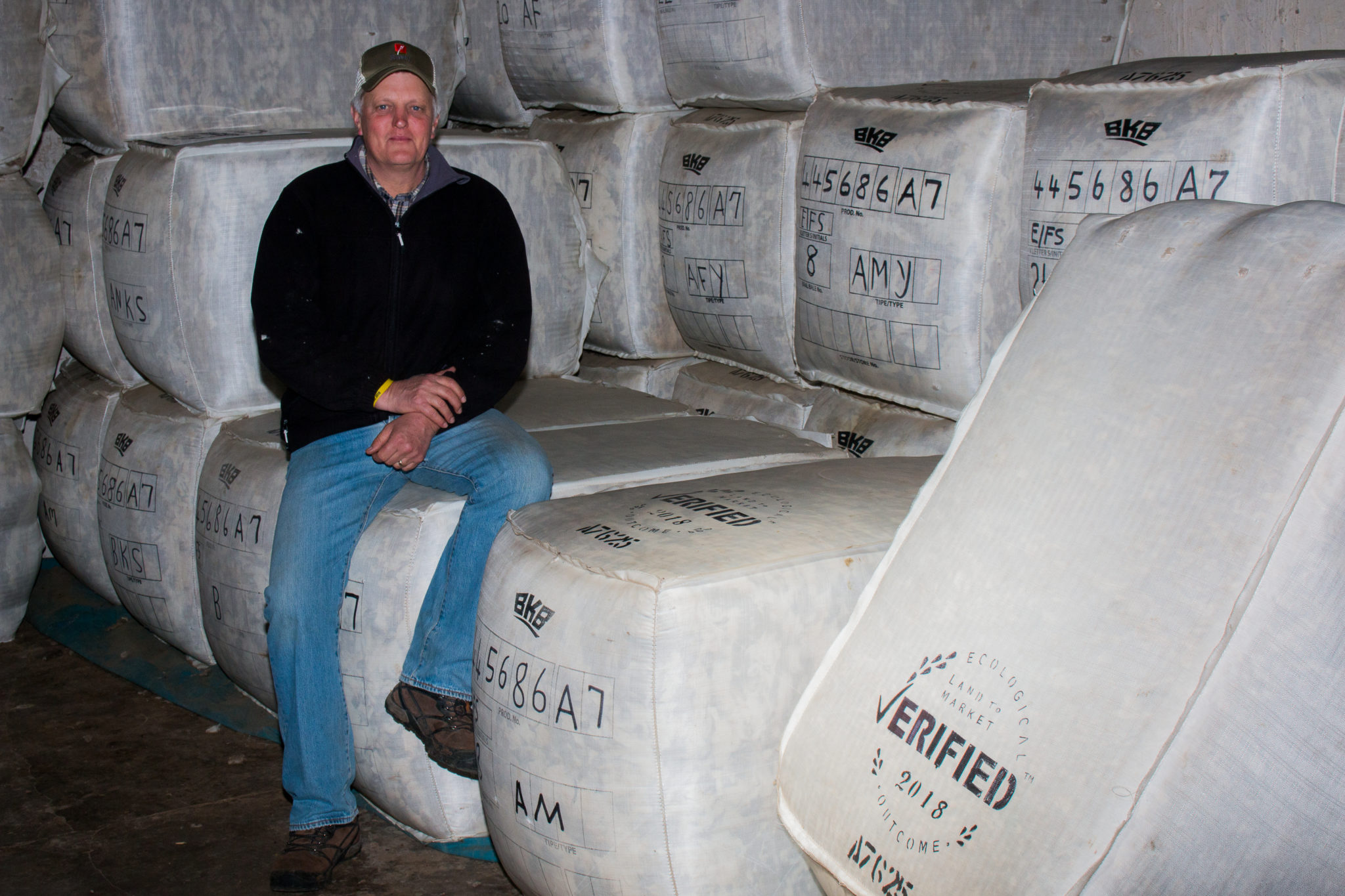 wool bales with EOV mark