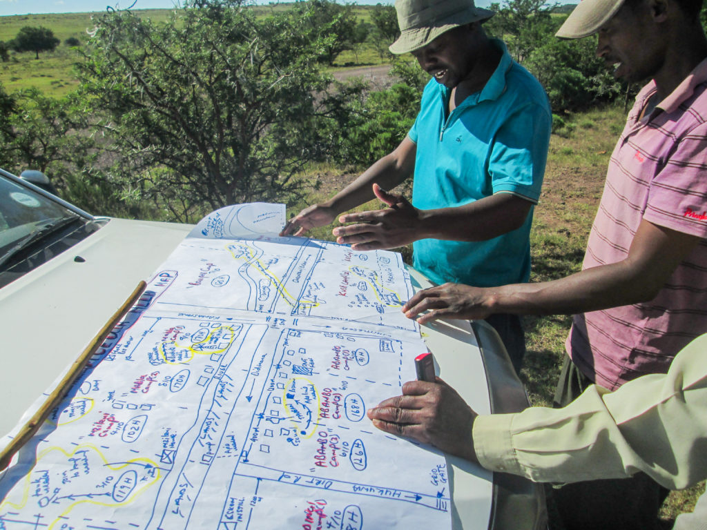 Mceula core group and herders discuss grazing planning from HLLM map Jan 2016
